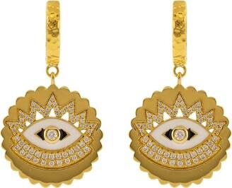 BUDDHA MAMA 20kt Yellow Gold Scalloped Evil Eye Enamel And Diamond Huggie Earrings