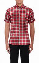 Neil Barrett Men's Plaid Cotton Pierced Slim-Fit Shirt-RED