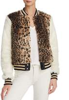 Mother The Baseball Printed Faux-Fur Jacket