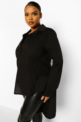 boohoo Plus Dip Hem Maxi Shirt