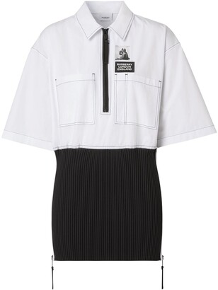 Burberry Knitted Panel Short-Sleeved Shirt