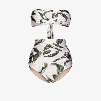 Adriana Degreas Muguet leaf print bandeau bikini