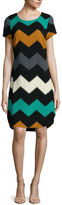Robbie Bee Short-Sleeve Textured Knit Chevron Sheath Dress - Petite