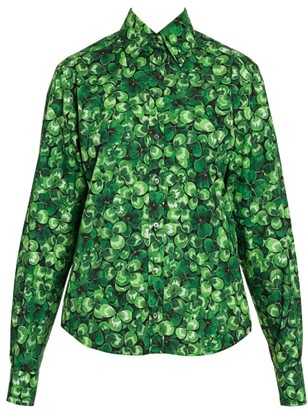 Dolce & Gabbana Poplin Clover-Print Button Front Shirt