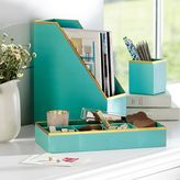 Printed Paper Desk Accessories Set, Solid Pool With Gold Trim
