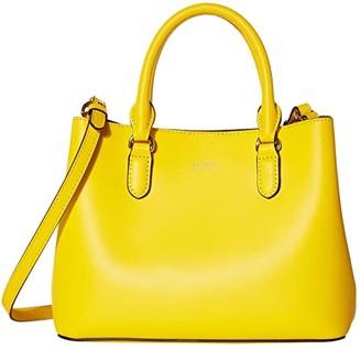 Lauren Ralph Lauren Dryden Super Smooth Leather Marcy II Satchel Mini (Racing Yellow/Lauren Tan) Handbags