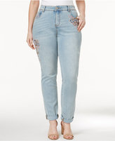 INC International Concepts Plus Size Embroidered Indigo Wash Cuffed Jeans, Created for Macy's