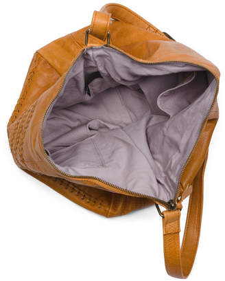 Leather Woven Detail Hobo