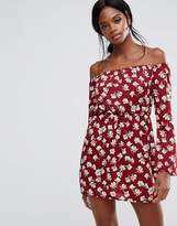 Missguided Floral Print Bardot Mini Dress