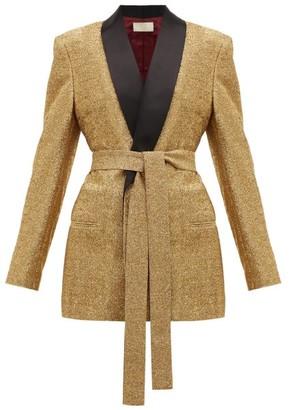 Sara Battaglia Lurex Single-breasted Tie-waist Jacket - Womens - Gold