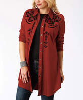 Roper Red Geometric Button-Up