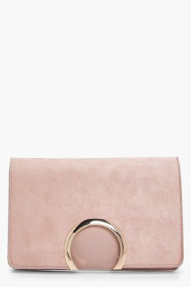 boohoo Metal Circle Suedette & PU Clutch Bag