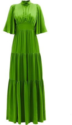 Andrew Gn Tiered Silk-satin Gown - Green