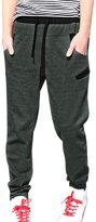 uxcell Allegra K Men Leisure ly Contrast Color Trim Elastic Waist Sweatpants Dark Grey W