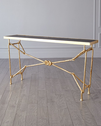 Ashley Childers For Global Views Love Knot Gold Leaf Console Table