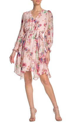 Gabby Skye Long Sleeve Cinched Waist Floral Dress