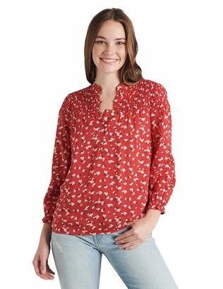 Lucky Brand Women's Long Sleeve V Neck Printed Gemma Smocked Blouse