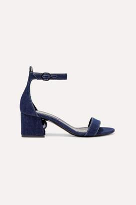 Nicholas Kirkwood Miri Faux Pearl-embellished Denim Sandals - Mid denim
