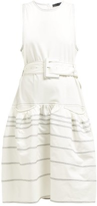 Proenza Schouler Dropped Waist Topstitched Stretch Cotton Dress - Womens - White