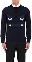 Fendi Men's Monster Eyes Wool Crewneck Sweater-NAVY