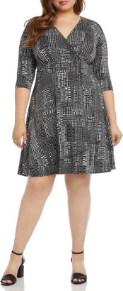 Karen Kane Faux Wrap Drape Dress