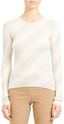 Theory Diagonal Stripe Intarsia Silk Sweater