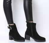 Office Ark Casual Mid Buckle Boots Black Suede