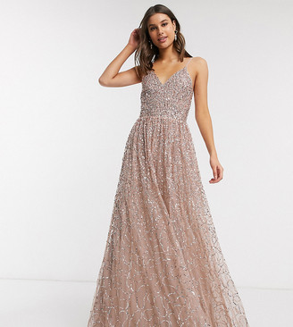 Maya Tall cami strap delicate scattered sequin maxi dress in pink