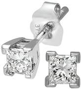 Naava Women's 9 ct White Gold 0.33ct Princess Cut Diamond Solitare Earrings