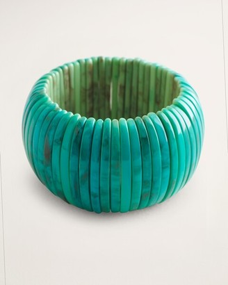 Chico's Simulated-Turquoise Wide Stretch Bracelet