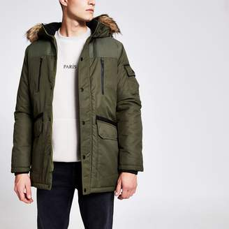 Jack and Jones Mens River Island Khaki faux fur hood coat