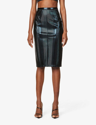 Thierry Mugler Embossed high-waisted faux-leather midi skirt