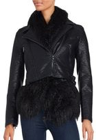 French Connection Layered Faux Fur-Trimmed Jacket