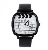 FeiFan Girls/Boys Candy Color Wrist Watch Fashion Black PU Leather Square Quartz Unisex Watch