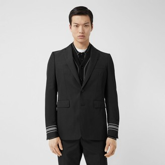 Burberry Classic Fit Stripe Detail Technical Twill Tailored Jacket