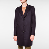 Paul Smith Men's Navy Wool And Cashmere-Blend Peak-Lapel Epsom Coat