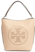 Tory Burch Perforated Logo Leather Hobo - Brown