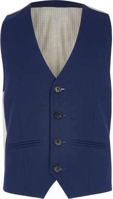 River Island Boys Navy pin dot suit waistcoat