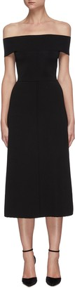 Victoria Beckham Off shoulder back split sleeveless midi dress