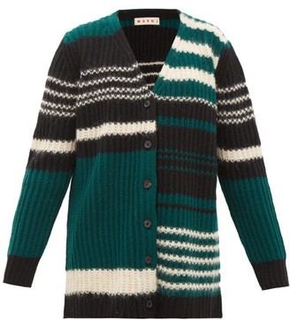 Marni Striped Ribbed-knit Wool-blend Cardigan - Womens - Green Multi