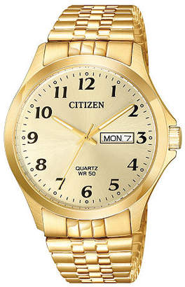 Citizen Quartz Mens Gold Tone Stainless Steel Expansion Watch-Bf5002-99p Family