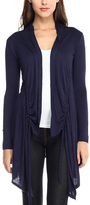 Celeste Navy Gathered Open Cardigan