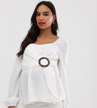 Asos DESIGN Maternity long sleeve square neck top with buckle detail