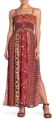 Angie Mixed Print Smocked Bodice Maxi Dress