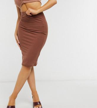 ASOS DESIGN Petite midi pencil skirt in rib in chocolate