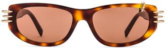 Givenchy Pierced Sunglasses in Dark Havana & Brown | FWRD