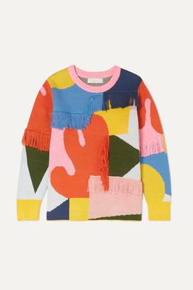 Stella McCartney Fringed Intarsia Organic Cotton And Merino Wool-blend Sweater - Pink