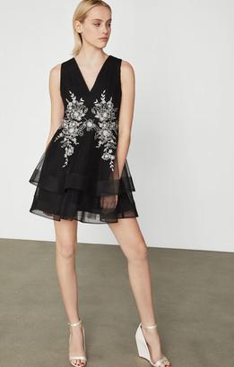 BCBGMAXAZRIA Tulle Applique Dress