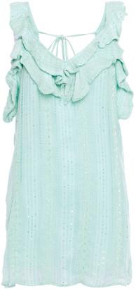 SUNDRESS Ruffled Embellished Gauze Mini Dress
