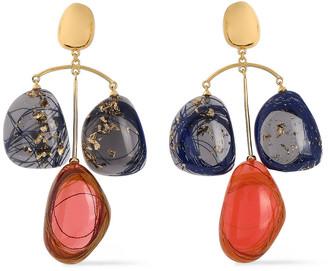 EJING ZHANG Patter 18-karat Gold-plated Resin Earrings